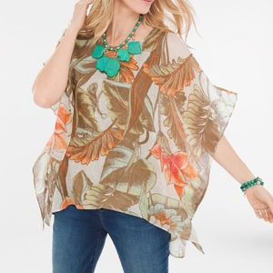 New Chicos 100% Linen Tropical Punch Poncho Top
